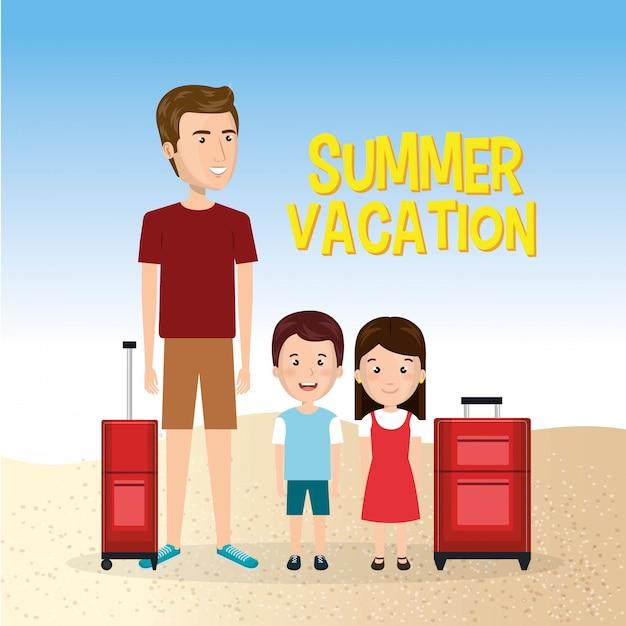 ビーチでの夏休みの家族 無料ベクター