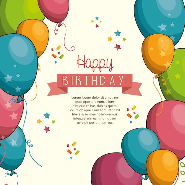 С днем рождения дизайн Бесплатные векторы