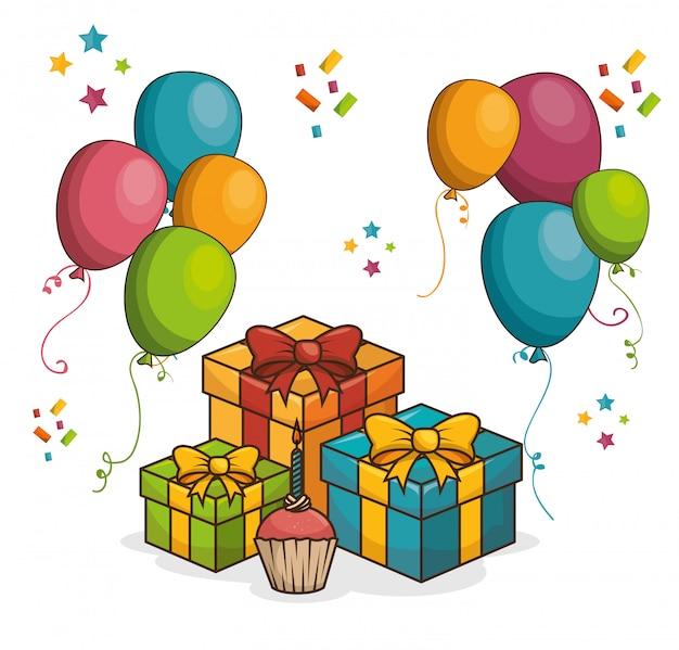 お誕生日おめでとうデザイン分離 無料ベクター