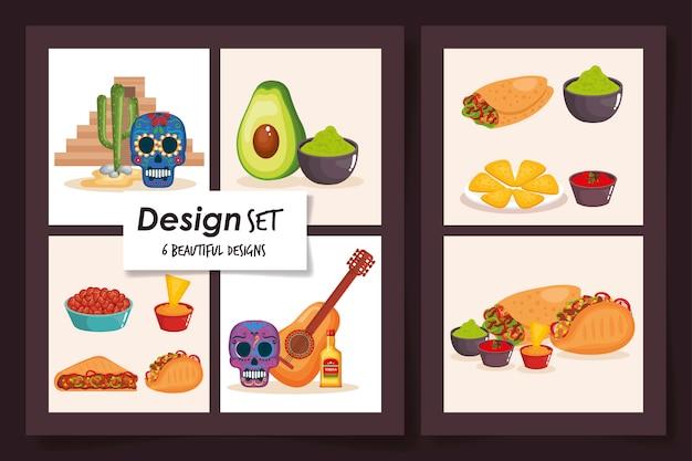 Проекты пищи мексики традиционной Premium векторы