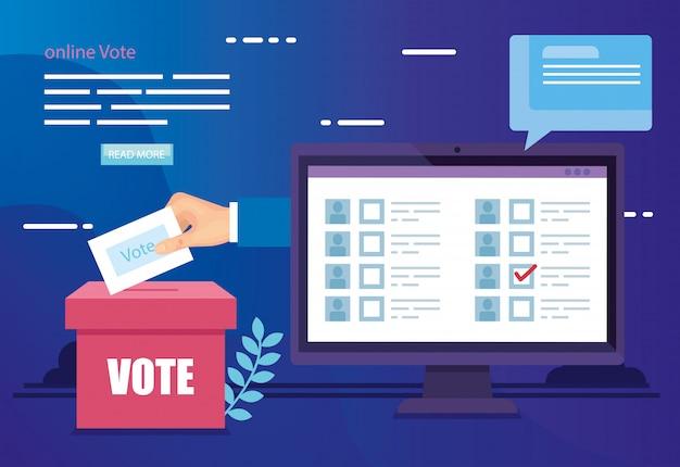 コンピューターと投票箱でオンライン投票のイラスト Premiumベクター