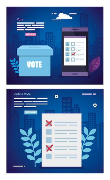 投票のイラストを設定 Premiumベクター