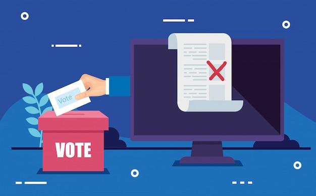 手と投票箱でオンライン投票用コンピューター Premiumベクター