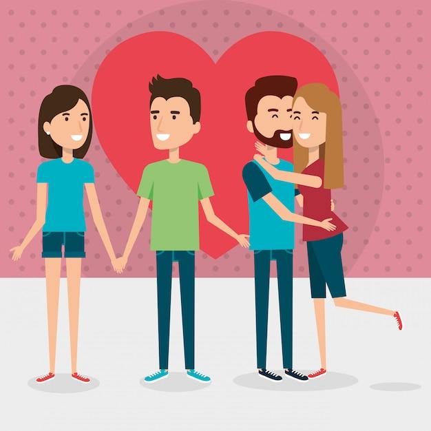 Группа влюбленных пар с сердцем Бесплатные векторы