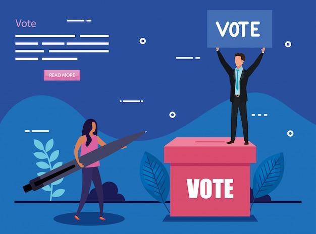 ビジネスカップルと投票のイラスト Premiumベクター