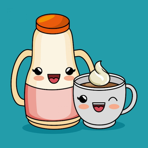 Мультфильм каваи сок чашка кофе Бесплатные векторы