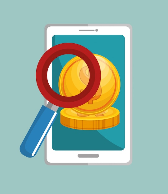 スマートフォンマネーアプリ検索 無料ベクター