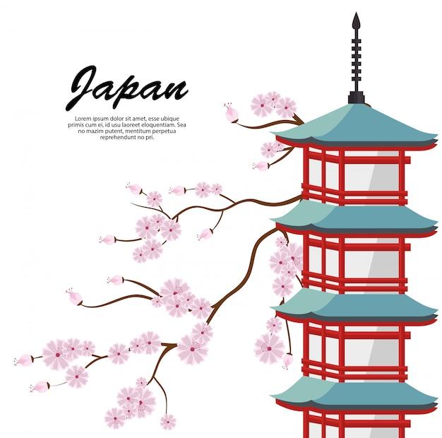 Значок плаката путешествия японии Бесплатные векторы