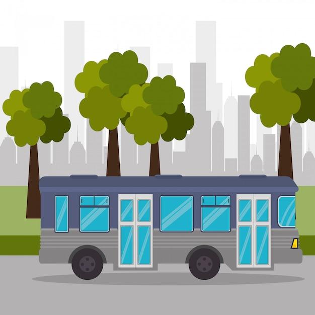 バス通りの木都市交通 無料ベクター
