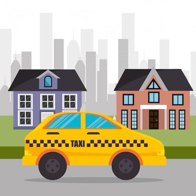郊外タクシーサービスタウン 無料ベクター