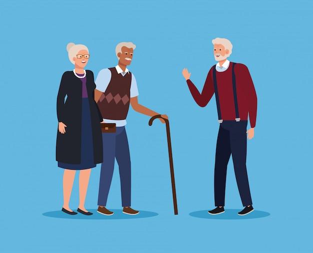 Старая пара вместе и человек с тростью Premium векторы