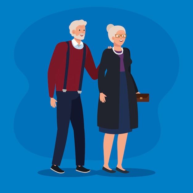 Пожилая женщина и мужчина в элегантной одежде Premium векторы