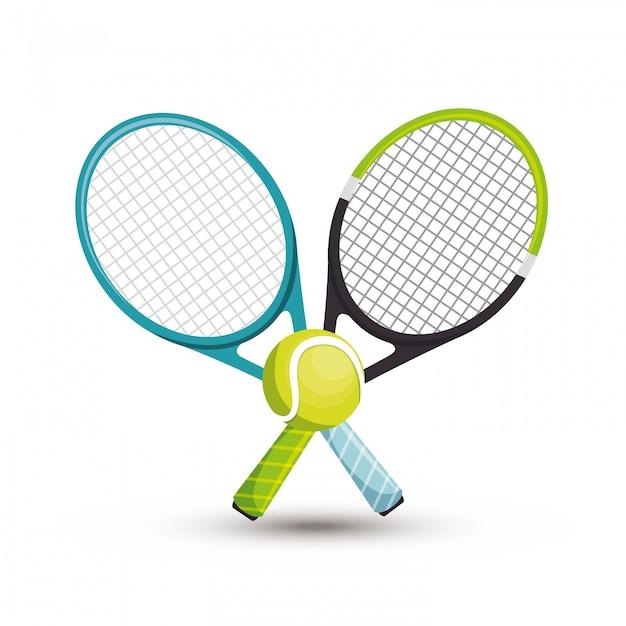 Теннисный мяч с двумя ракетками Бесплатные векторы
