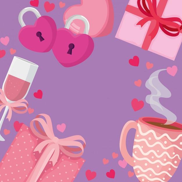 Чашка шампанского с набором иконок для иллюстрации день святого валентина Premium векторы