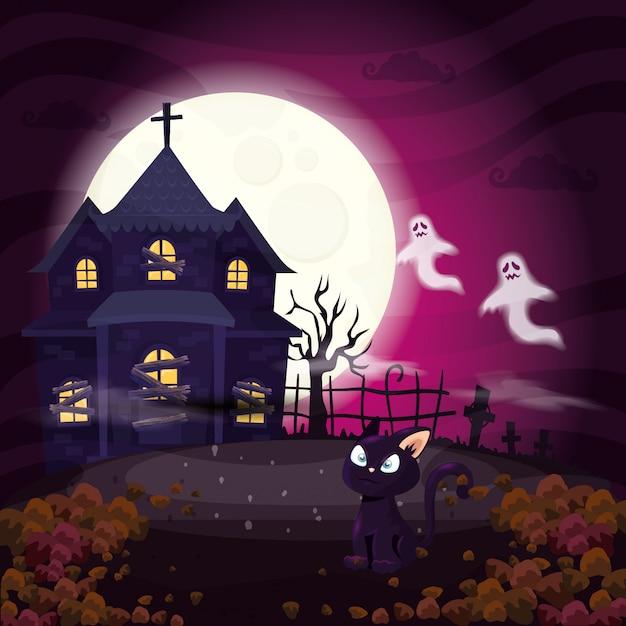 Дом с привидениями с кошкой в сцене хэллоуин иллюстрации Premium векторы