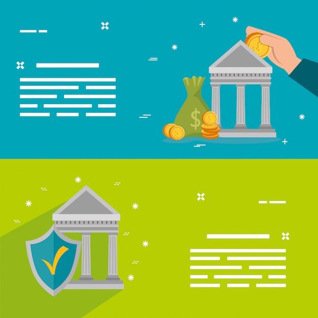 銀行構造のセット Premiumベクター