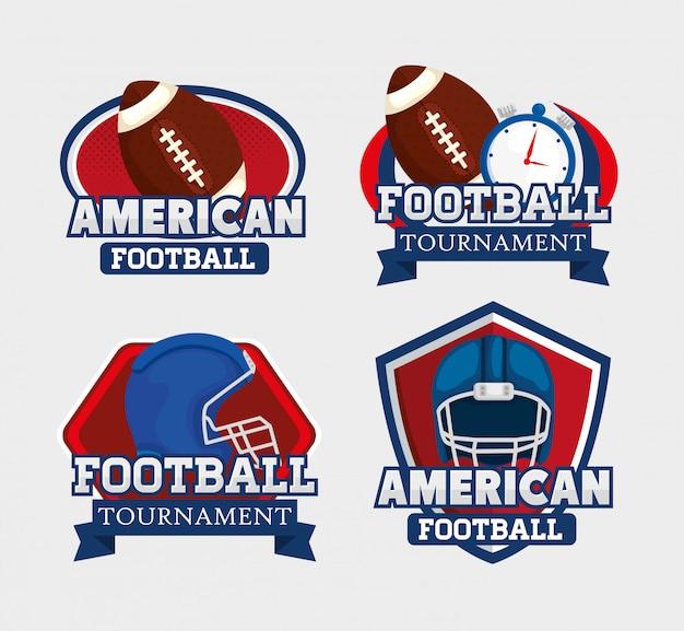 アメリカンフットボールのロゴを設定 Premiumベクター
