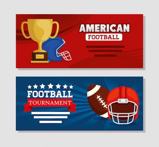 アメリカンフットボールのバナーセット Premiumベクター