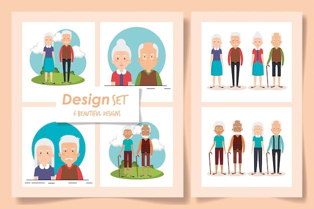 祖父母のキャラクターのイラストセット Premiumベクター