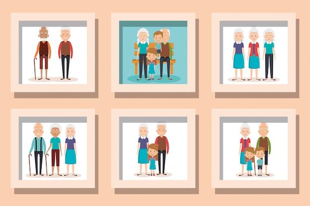 孫と祖父母のイラストセット Premiumベクター