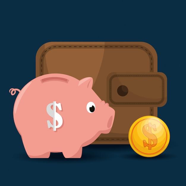 貯蓄とお金の概念 無料ベクター