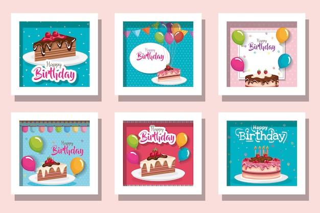 Открытка с днем рождения с вкусной едой и украшением Premium векторы