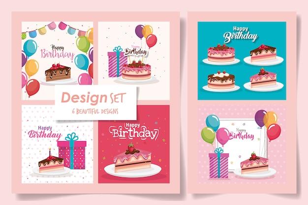 Шесть карт с днем рождения с вкусной едой и украшениями Premium векторы