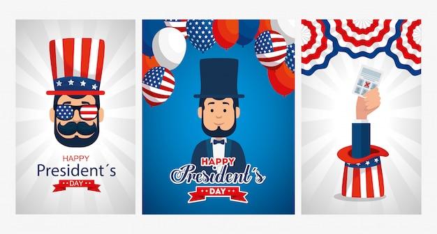 アメリカの幸せな大統領の日グリーティングカードセットの男性アバター漫画 Premiumベクター