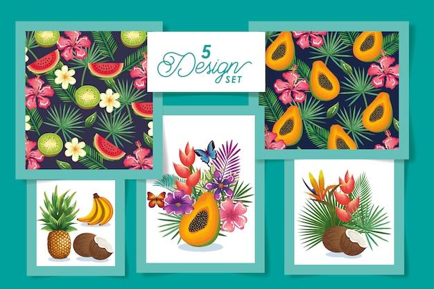 Пять фруктов с цветами и листьями тропиков Premium векторы