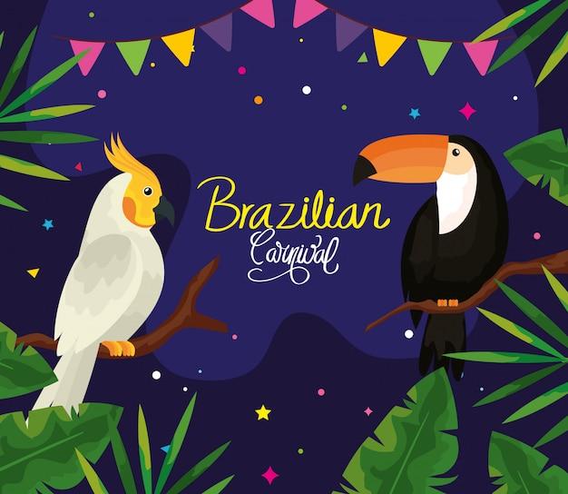 Бразильский карнавал с попугаем и туканом векторная иллюстрация дизайн Premium векторы