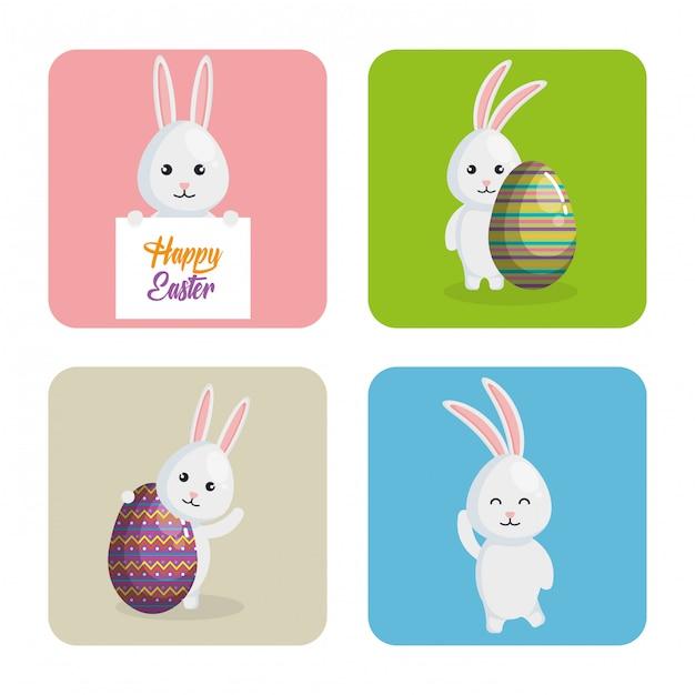 イースターのお祝いを描いた卵とウサギ Premiumベクター
