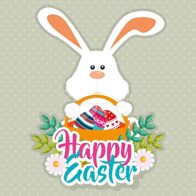 イースターのお祝いグリーティングカードを描いた卵とウサギ Premiumベクター