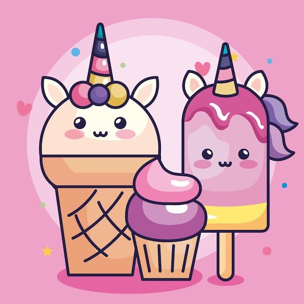 ユニコーンアイスクリームカップケーキとかわいい装飾ベクトルイラストデザイン Premiumベクター