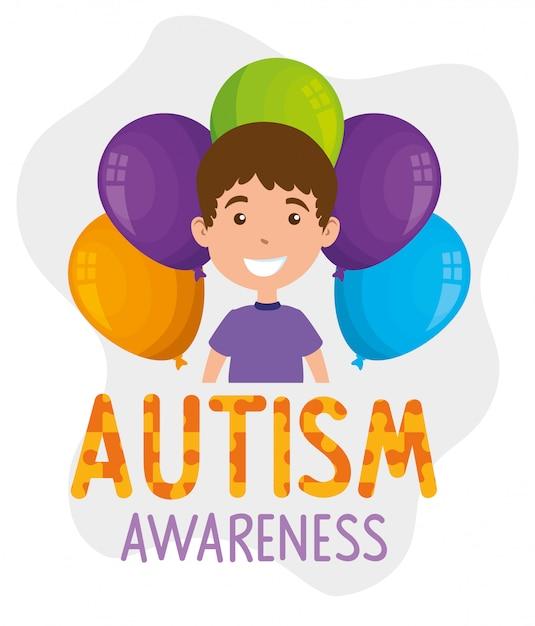 少年と風船ヘリウムと世界自閉症の日 Premiumベクター