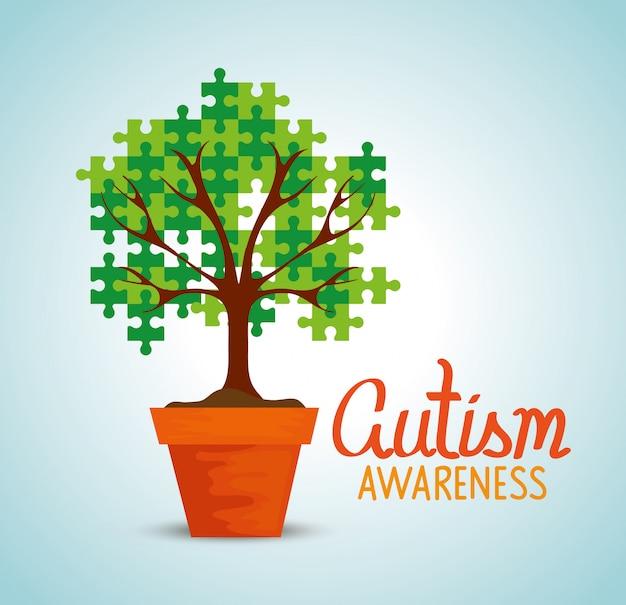 鉢植えの木と世界の自閉症の日 Premiumベクター