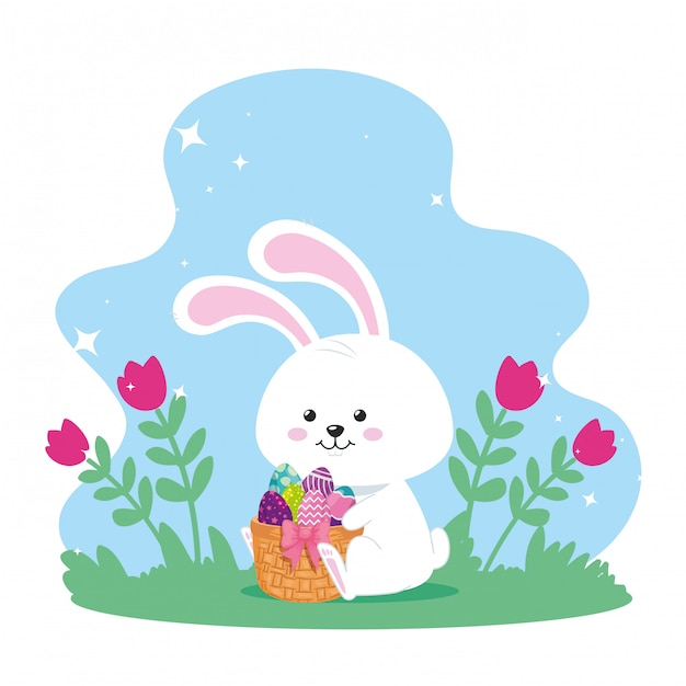 バスケットの枝編み細工品と装飾ベクトルイラストデザインでイースターの卵とウサギ Premiumベクター