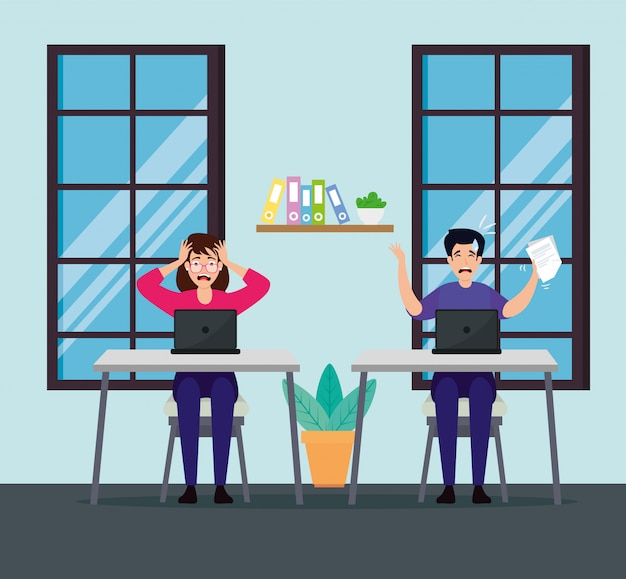Пара с приступами стресса на рабочем месте Premium векторы