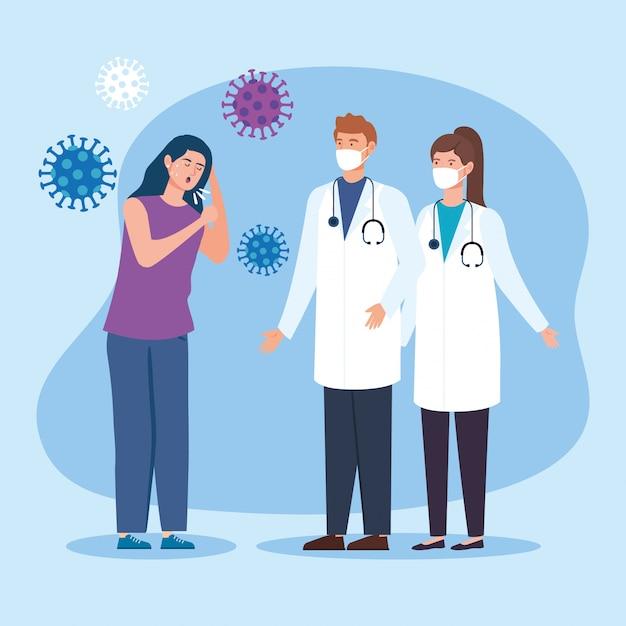 Пара врачей с женщиной, больной коронавирусом Premium векторы