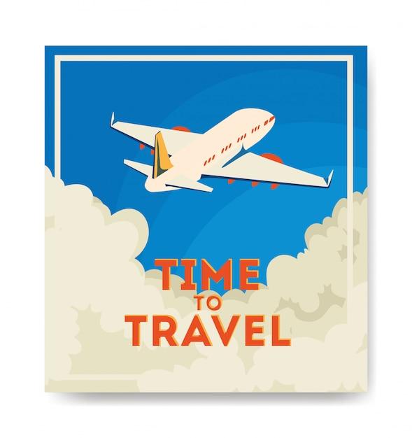 飛行機が飛んで旅行イラスト 無料ベクター