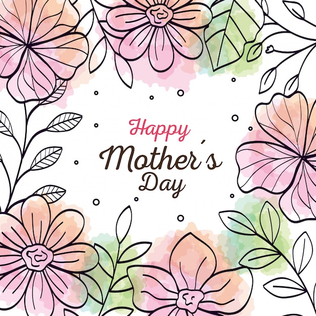 花の装飾のフレームとの幸せな母の日カード Premiumベクター