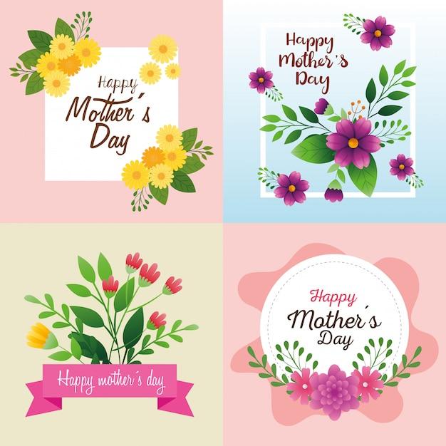 花の装飾で幸せな母の日のカードを設定します 無料ベクター