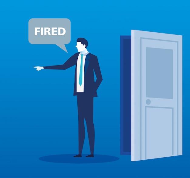 Сцена уволенного бизнесмена аватара Premium векторы