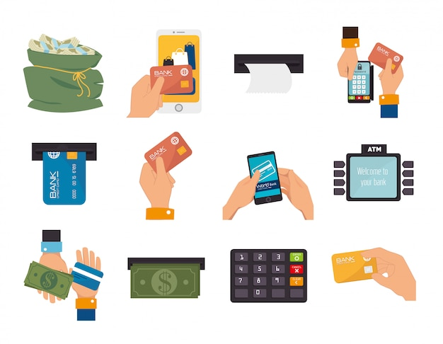 ビジネスと手の束は、アイコンを設定 Premiumベクター