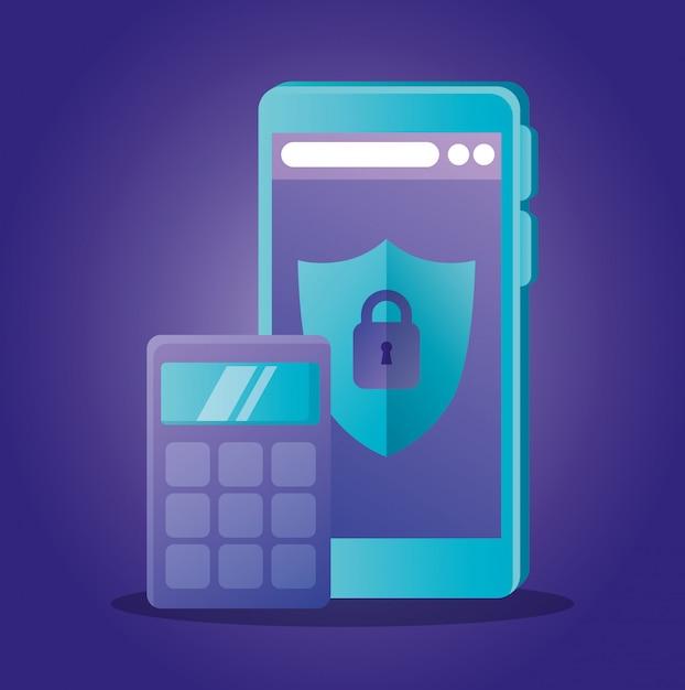 電卓とシールド付きスマートフォン Premiumベクター