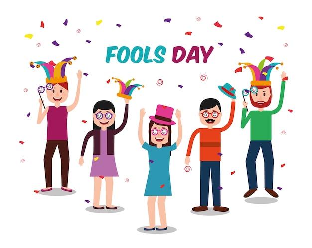 Люди празднуют день дураков Premium векторы
