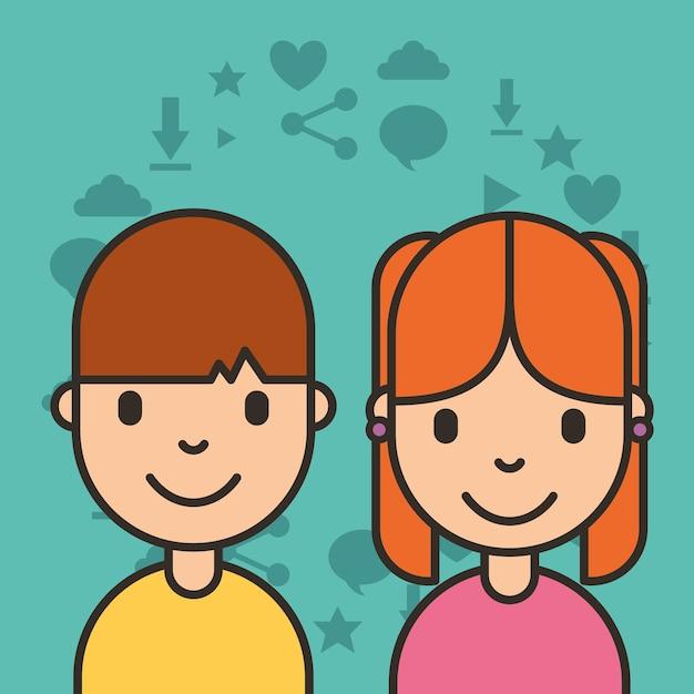 ソーシャルメディアの子供ソーシャルメディアのアイテムの背景 Premiumベクター