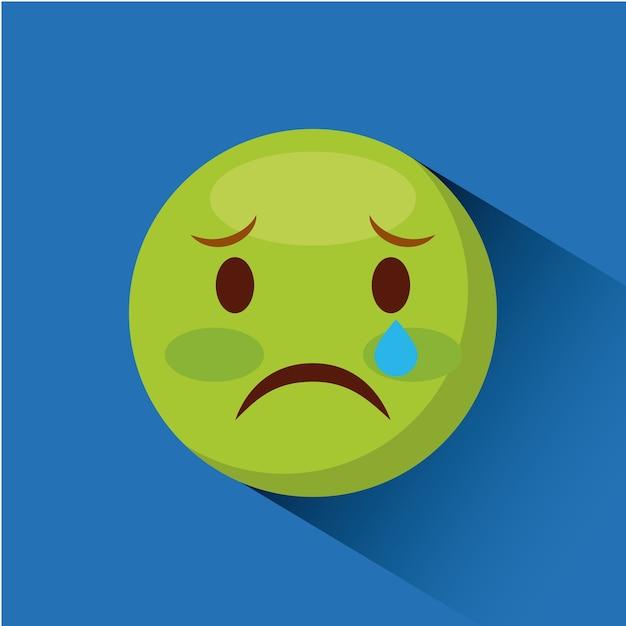 顔文字青い背景の上に悲しい顔のアイコンカラフルなデザインベクトル