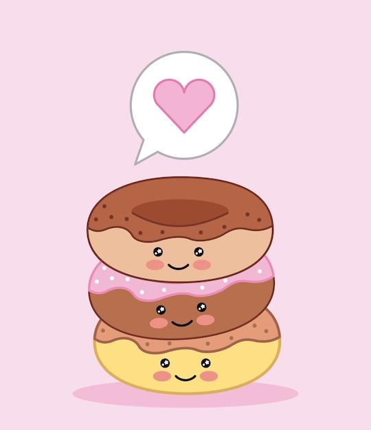 かわいい甘いドーナツ愛漫画ベクトルイラスト ベクター画像 プレミアム