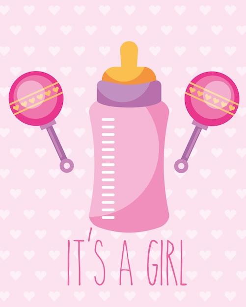 ピンクの哺乳瓶とガラガラのおもちゃその女の子カード Premiumベクター