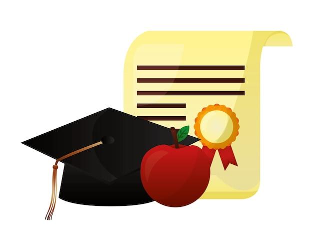 羊皮紙卒業証書と帽子卒業 Premiumベクター